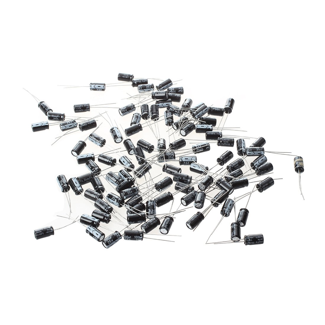 100Pcs 6 x 11 mm 100uF 25 V radial en aluminium condensateurs électrolytiques DT