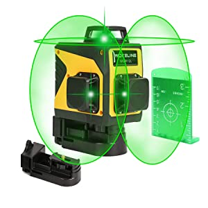 3D Green Line Laser, Rechargeable Self Leveling Laser Level for Construction, USB Charging Auto Leveling Laser Level Kit with 12 Lines, 360 Degree Alignment Laser Leveler Tool for Indoor & Outdoor