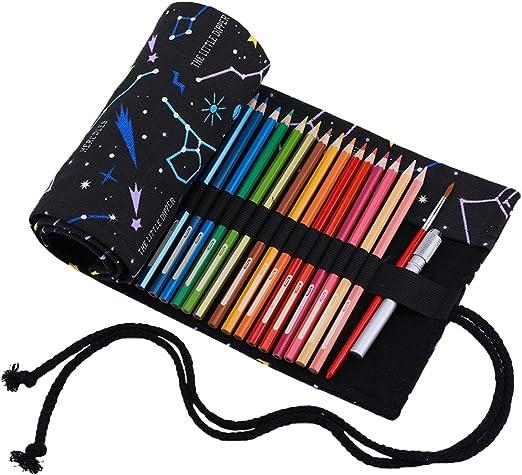 Abaría - Bolso para lápices, Estuche Enrollable para 48 lapices Colores, portalápices de Lona, Bolsa Organizador lápices para Infantil Adulto, Metro Negro 48 (No Incluyendo los lápices): Amazon.es: Hogar