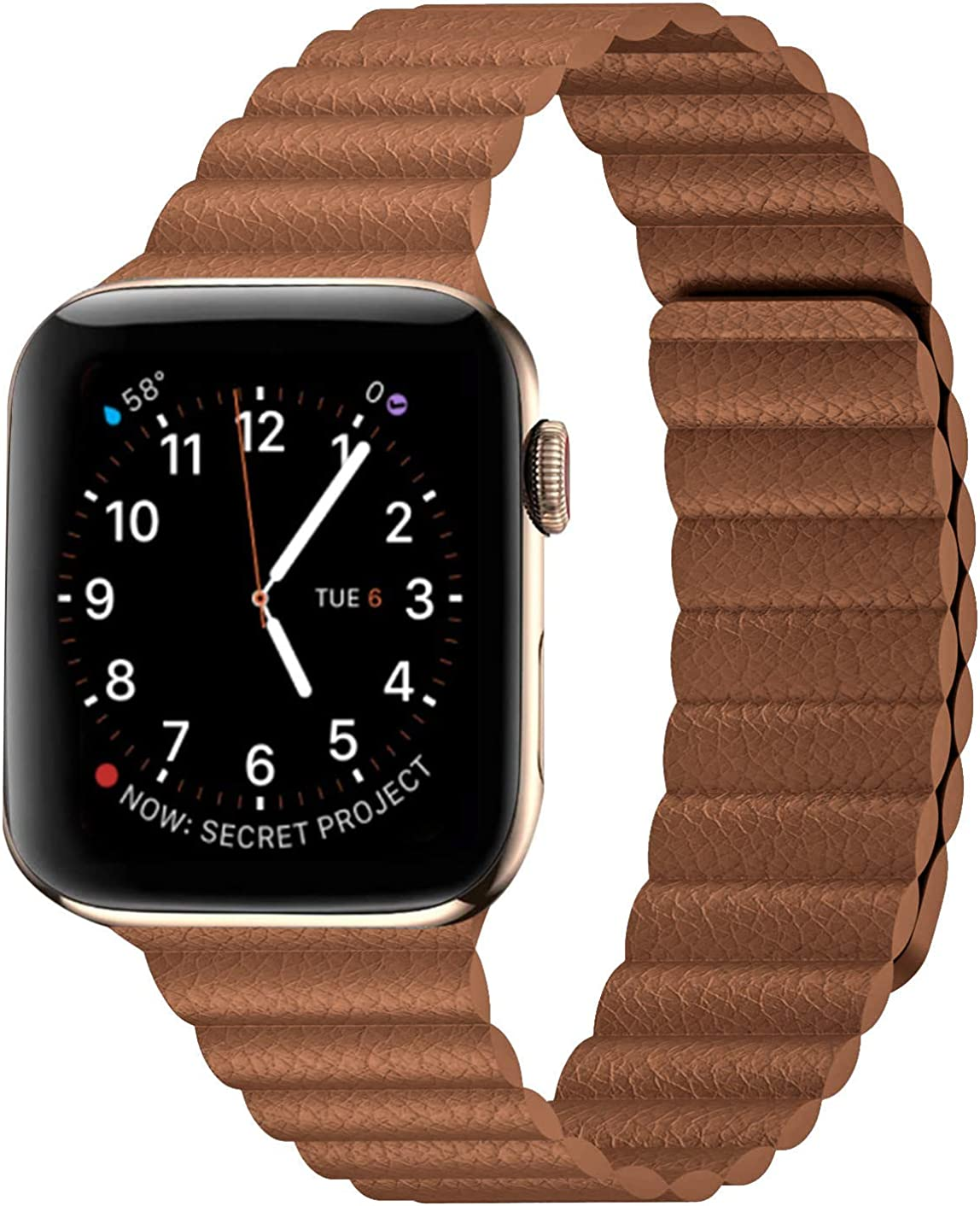 Circoclve Compatible with Apple Watch Magnetic Band Leather 44mm 42mm, Adjustable Loop Strap with Magnetic Closure for iWatch Series 6/5/4/3/2/1/SE