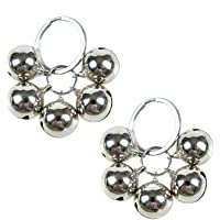 JETEHO 2 Pcs Silver Stainless Steel Dog Bells Non Rust Loud Collar Pet Training Charms Bell for Cats Dogs