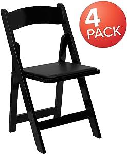 Flash Furniture 4 Pk. HERCULES Series Black Wood Folding Chair with Vinyl Padded Seat