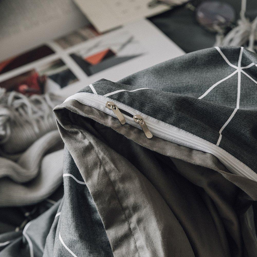 Cotton Stripe Bedding Comforter Cover Sets for Teens Kids Queen Bed Dark Blue Geometric Bedding Set with 2 Pillow Shams Full Breathable Duvet Cover for Boys Girls Queen, Dark Blue EnjoyBridal DC106DBQ No Comforter
