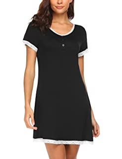 756a05c571 Ekouaer Women s Nightgown Cotton Sleep Shirt Dress Contrast Color Short  Sleeve Sleepwear with Pockets (S