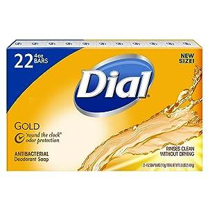Dial Antibacterial Deodorant Bar Soap, Gold - 4 Oz, 22Count