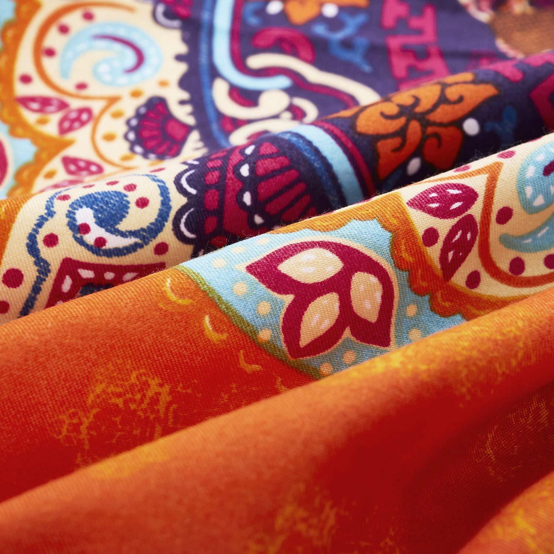 Wake In Cloud - Mandala Comforter Set, Orange Bohemian Boho Chic Medallion Pattern Printed, Soft Microfiber Bedding (3pcs, King Size) by Wake In Cloud (Image #4)