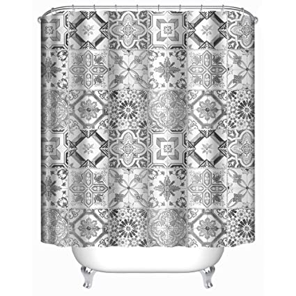 Uphome Grey Tile Fabric Shower Curtain