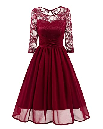 480f3a752a9 AREBON Women s Elegant Floral Lace Illusion Neckline Wedding Party Formal Dresses  Graduation Ceremony Graduation Bridesmaid at Amazon Women s Clothing store  ...