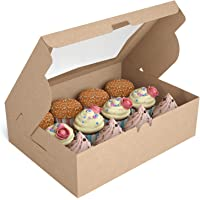X-Chef Cupcake Boxes, Food Grade Kraft Bakery Boxes with Inserts and Display Windows Fits 12 Cupcakes or Muffins,12 Packs