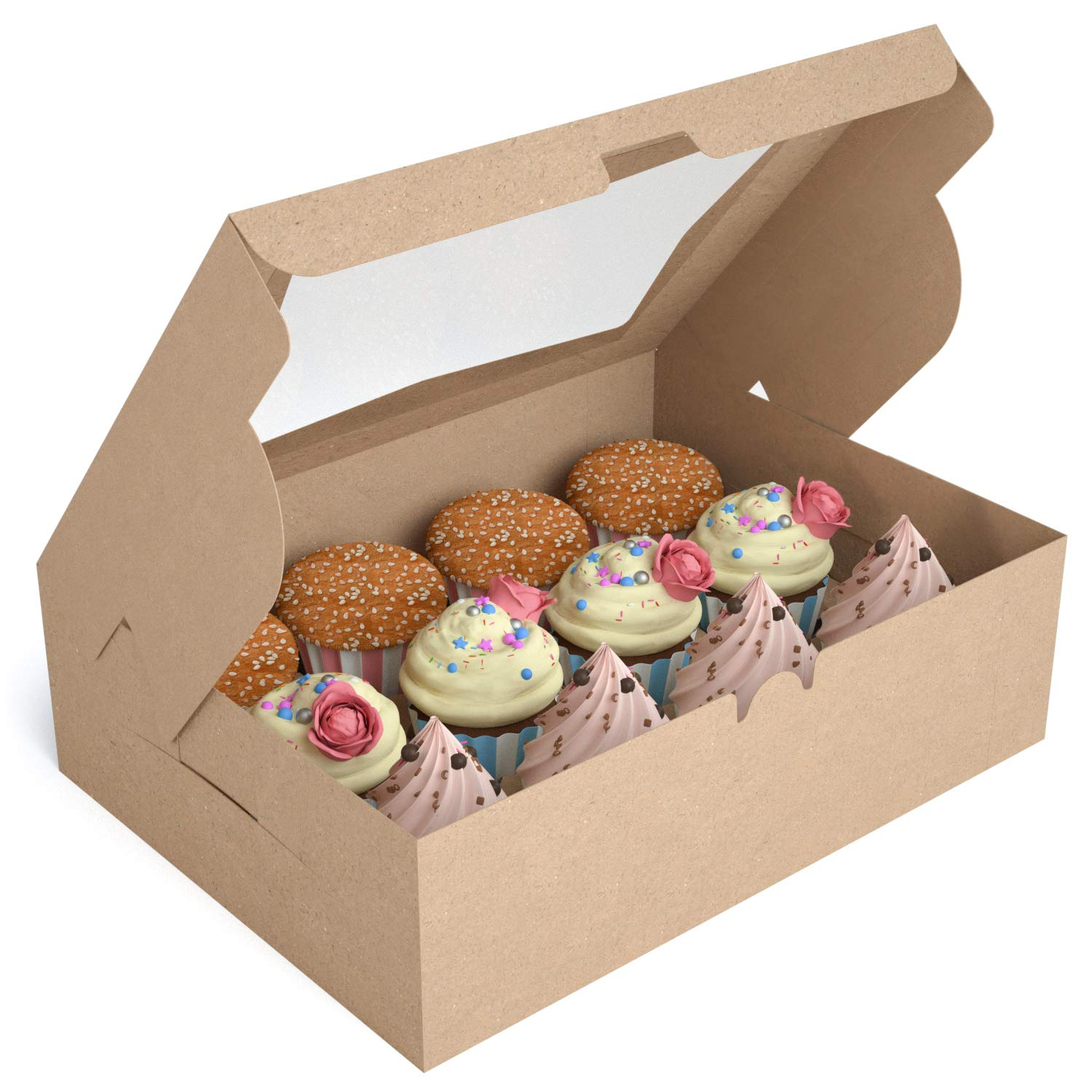 X-Chef Cupcake Boxes, Food Grade Kraft Cupcake Carrier Holder with Inserts and Windows for 12 Cupcakes or Muffins,12 Packs