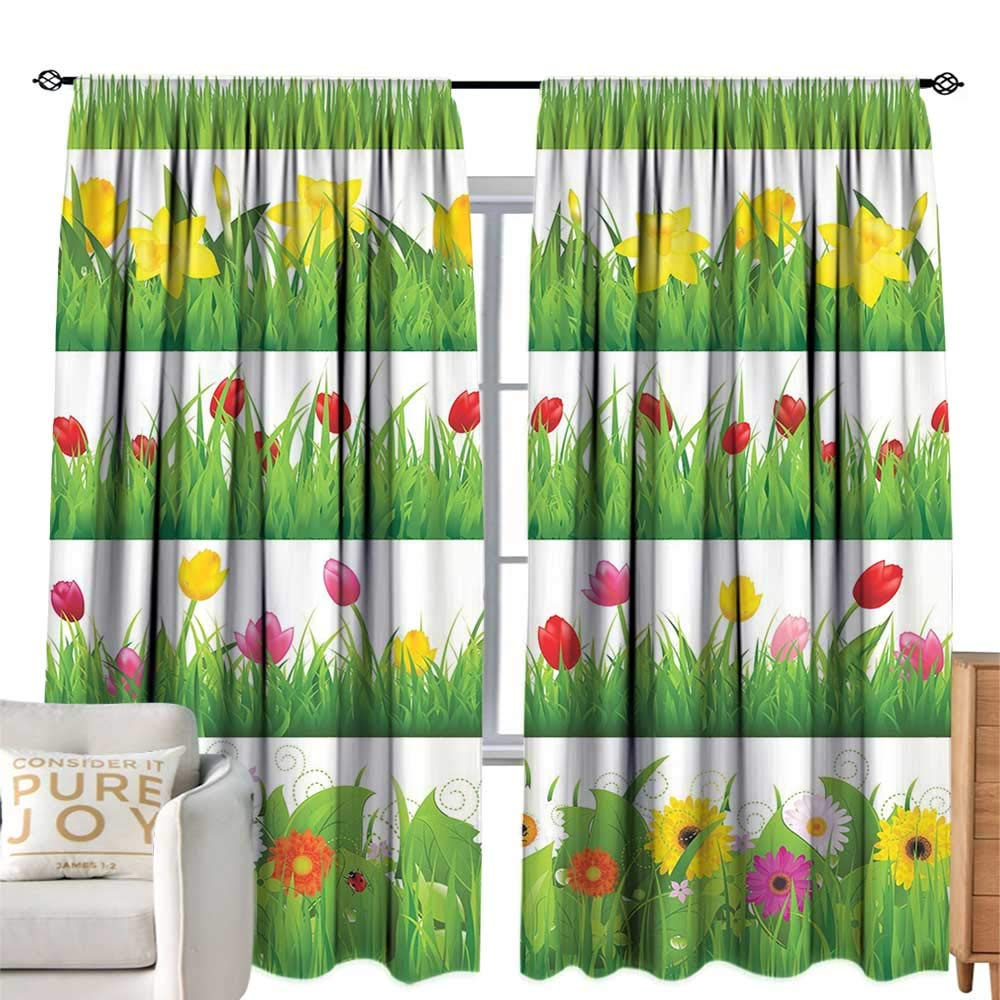 color02 W96 xL84  cobeDecor Room Darkened Heat Insulation Curtain Green Leaf Abstract Bamboo Trees in Japanese Forest Botanical Oriental Outdoors Lime Green Pale Green Simple Style W84 xL84
