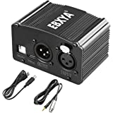 EBXYA 48V Phantom Power Supply with XLR Female to 3.5mm Cable (6 Feet), 1 Channel Phantom power for Condenser Microphone…