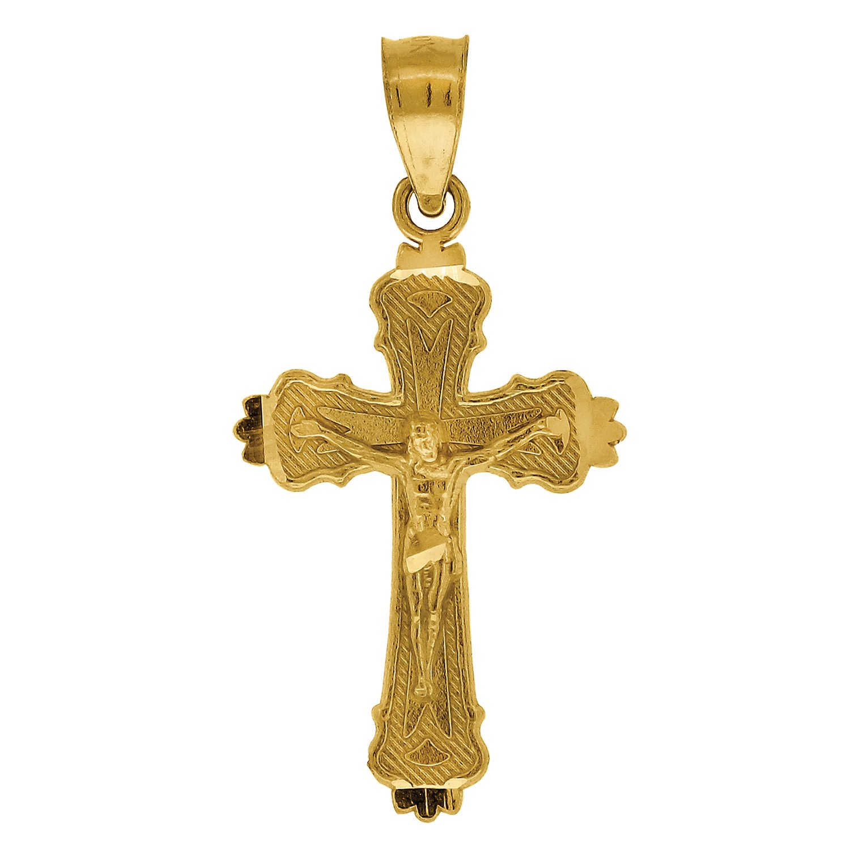 10kt Gold DC Unisex Cross Crucifix Ht:25.1mm x W:12.6mm Religious Charm Pendant