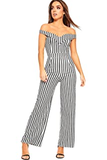 a38f62e936 WearAll Women s Monochrome Striped Print Jumpsuit Ladies Off Shoulder  Sleeveless Trousers ...