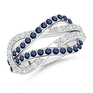 Angara Prong Set Blue Sapphire Encrusted infinity Knot Ring 14k Yellow Gold C5COlCJP7t