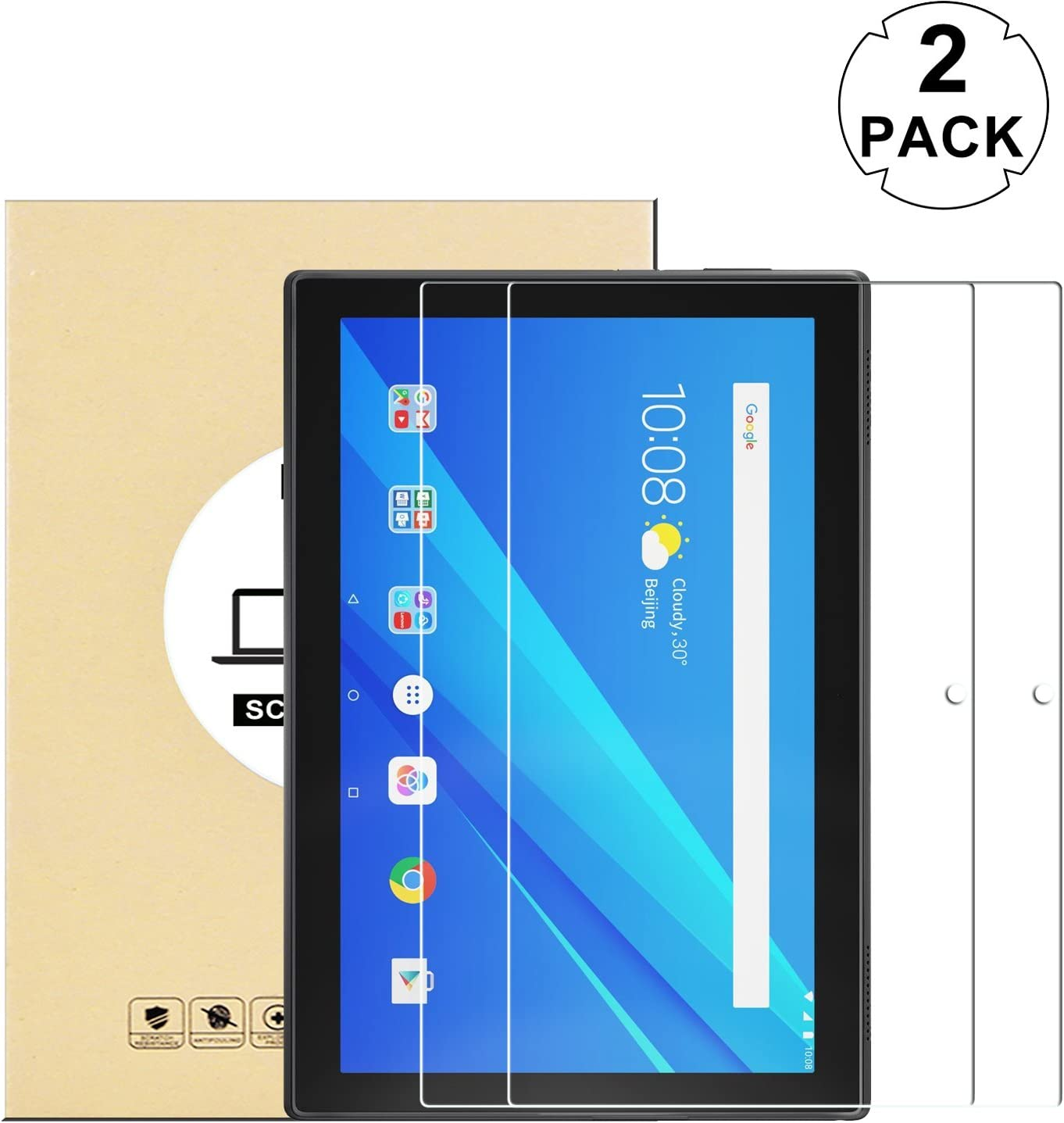 "KTtwo (2 Pack Lenovo Tab 4 10 Screen Protector Glass, 9H Hardness Tempered Glass Anti-Scratch Bubble-Free Screen Protector for Lenovo Tab 4 10 10.1"" Tablet"
