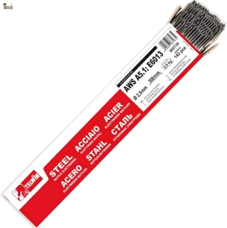 BricoLoco Electrodos soldadura rutilo para soldar hierro y acero. 2,5x300 mm. Paquete 143 uds. Proporcionan buena estabilidad del arco. Revestidos revestimiento especial. (1)