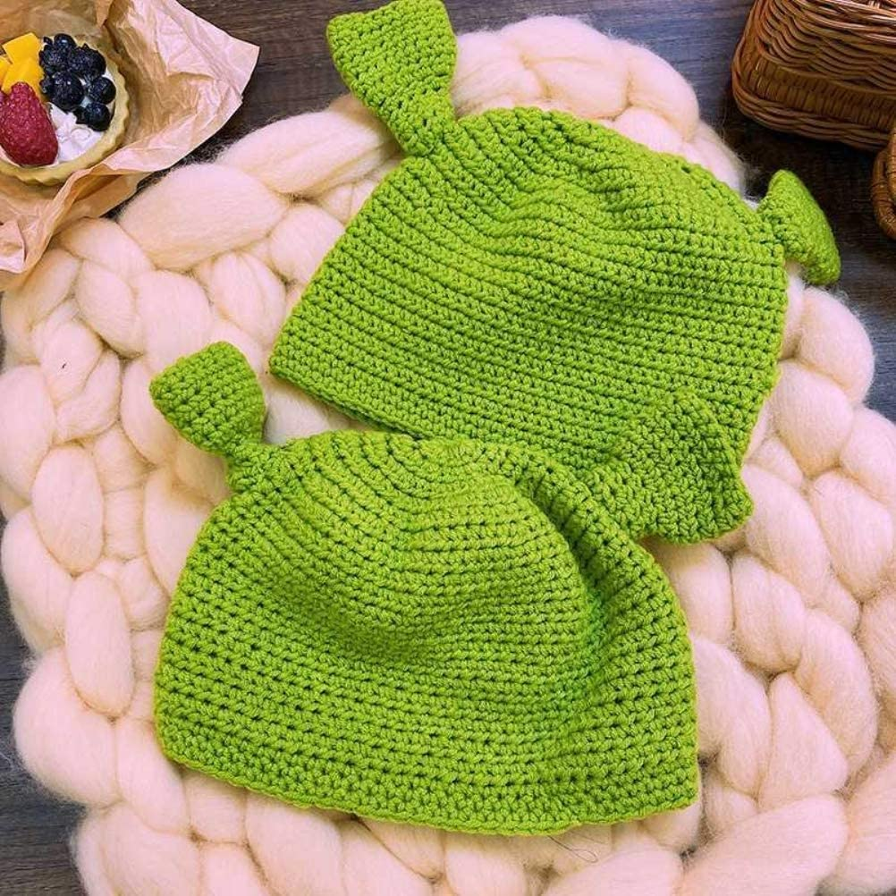 Green Funny Hats HEITIGN Unisex Hand-Knitted Shrek Hats Beanie Hat Warm Durable Hand Knitted Cap Cosplay Dome Cap Wool Winter Hat Funny Beanie Cap