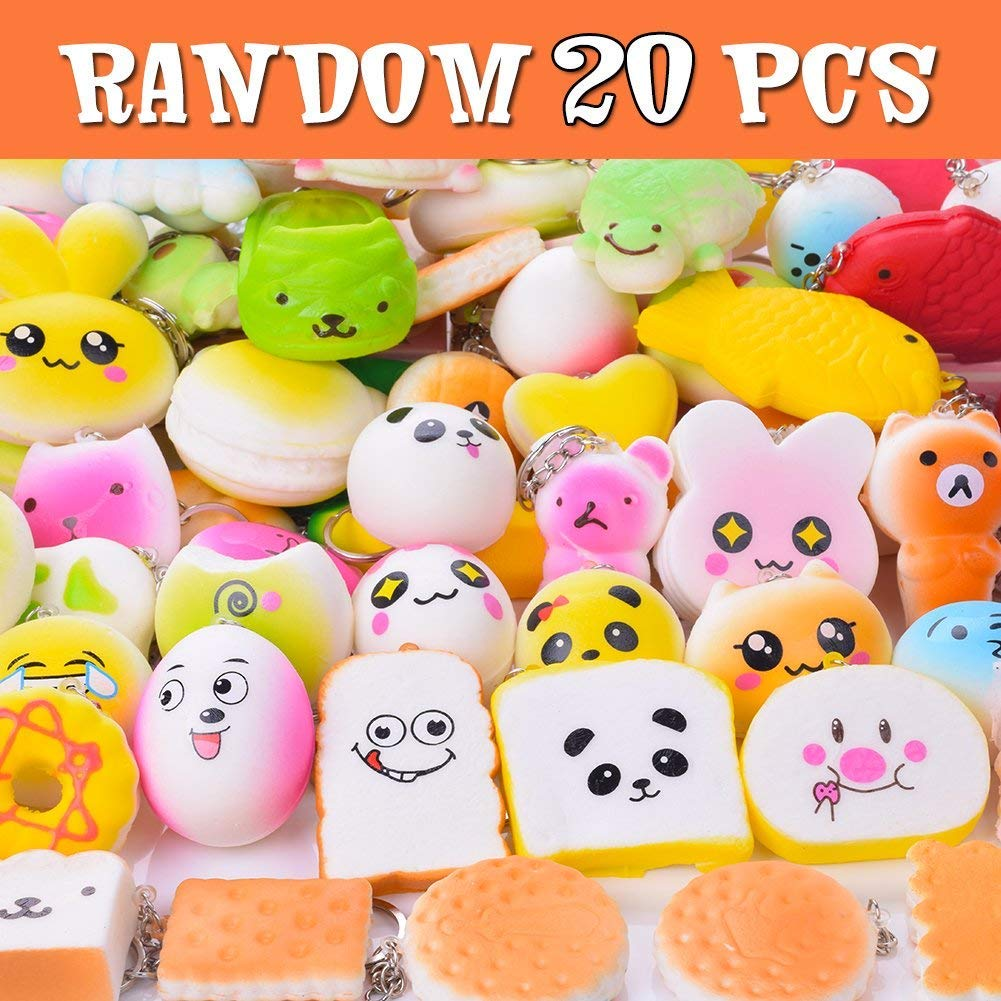 LEEHUR Squishies Slow Rising 20Pcs Kawaii Squishies Pack Random Squeeze Funny Toys Stress Relief Toys with Keychain for Kids Party Supplies School Classroom Rewards
