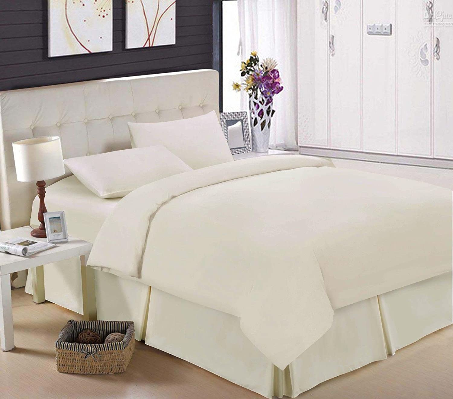 Small double, Black Base Valance Box Pleated Luxury 100/% Egyptian Cotton Percale 200 Thread count