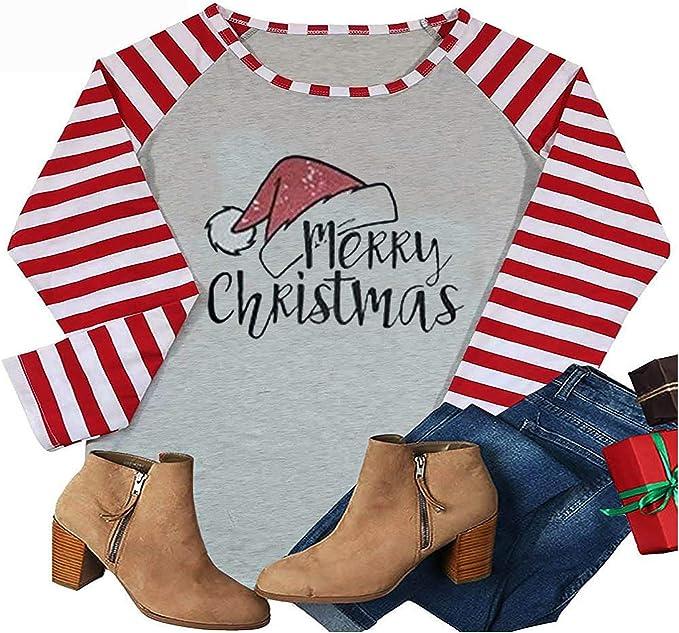 Fudule Christmas Shirts for Women Funny Graphic Long Sleeve Splice Baseball Tee Shirt Plaid Splicing Novelty Tee Tops