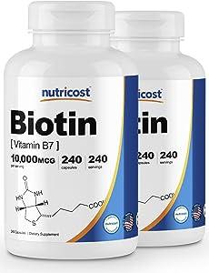 Nutricost Biotin (Vitamin B7) 10,000mcg (10mg), 240 Caps (2 Bottles) - Non-GMO, Gluten Free