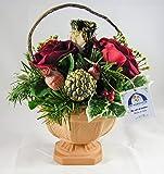 38° Parallelo Creations - Composizione floreale profumata circolare realizzata su vasetto di terracotta decorato - Idea regalo Made in Italy - CLS0200004 ROSA