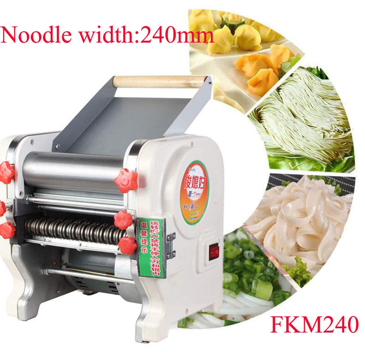 220V Electric Pasta Maker Stainless Steel Noodles Roller Machine for Home Restaurant Commercial - Width 160mm by Beacon Pet