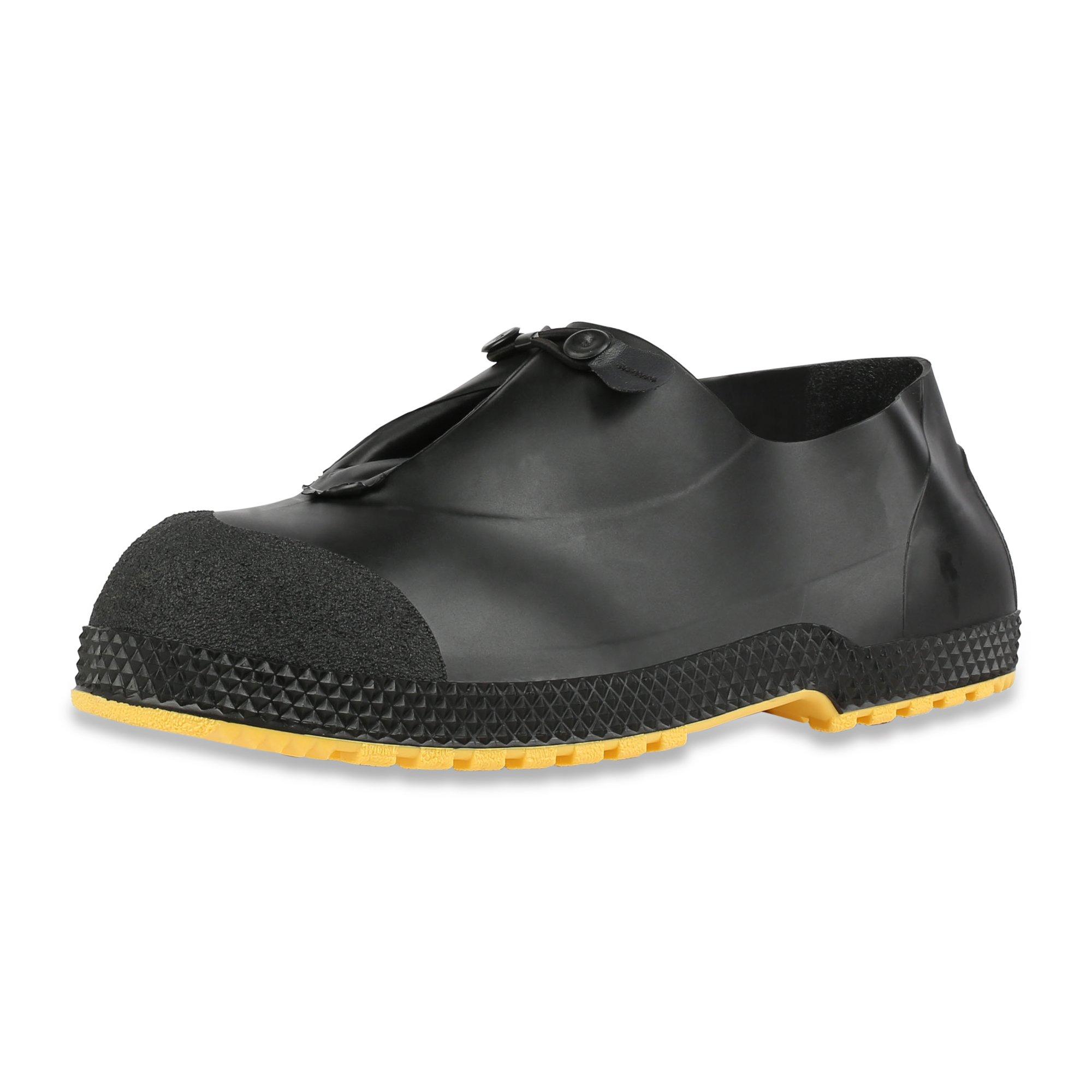 Servus SuperFit 4'' PVC Dual-Compound Slip-On Men's Overshoes, Black & Yellow (11004B-Boxed)
