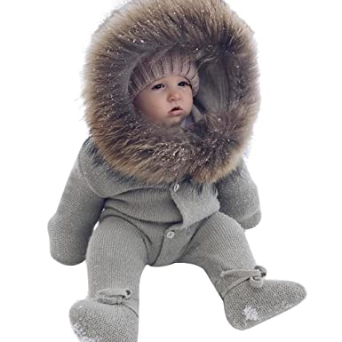e710ef720 LUOEM Newborn Hoodie Rompers Winter Warm Jumpsuit For Baby Boys ...