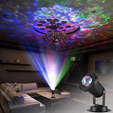 Zeonetak Colorful Automatically Moving Water Wave LED Projector Sleep Soothing Baby Room Night Light Spotlight for Home Party Wedding Decoration(Projection Area 50-80 sq ft) (Colorful-A)