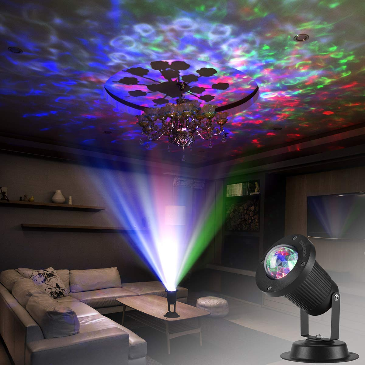 Zeonetak colorful automatically moving water wave led projector sleep soothing baby room night light spotlight for