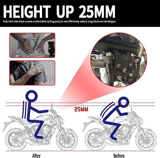 Negro MT07 FZ07 Accesorios 25mm Manillar de aluminio para motocicleta Abrazadera de montaje en elevador Abrazadera de barra para Yamaha MT FZ 07 MT-07 FZ-07 Tracer 700 2014 2015 2016 2017 2018 2019