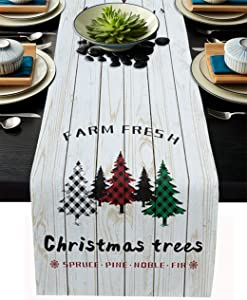 Cloud Dream Home Cotton Linen Table Runner Christmas Trees Farm Table Setting Decor Wooden Board for Garden Wedding Parties Dinner Decoration - 13 x 108 inches