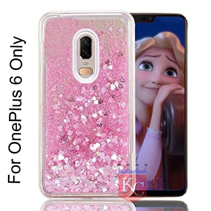huge discount f4f56 7c589 KC Liquid Unique Floating Hearts & Glitter Sparkle Transparent One Plus 6  Soft Back Cover for OnePlus 6 (Pink)