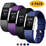 Fondenn Bands Compatible with Fitbit Charge 2 for Women and Men (4 Pack), Classic Adjustable Soft Silicone Sport Strap…