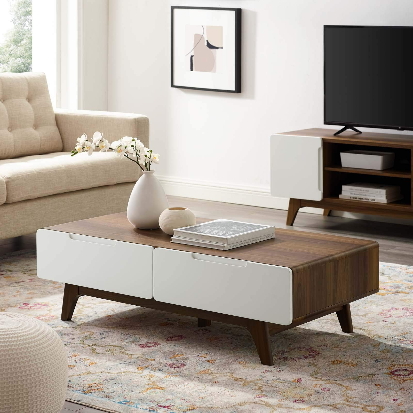 Modway Origin 47'' Mid-Century Modern Wood Coffee Table In Walnut White by Modway