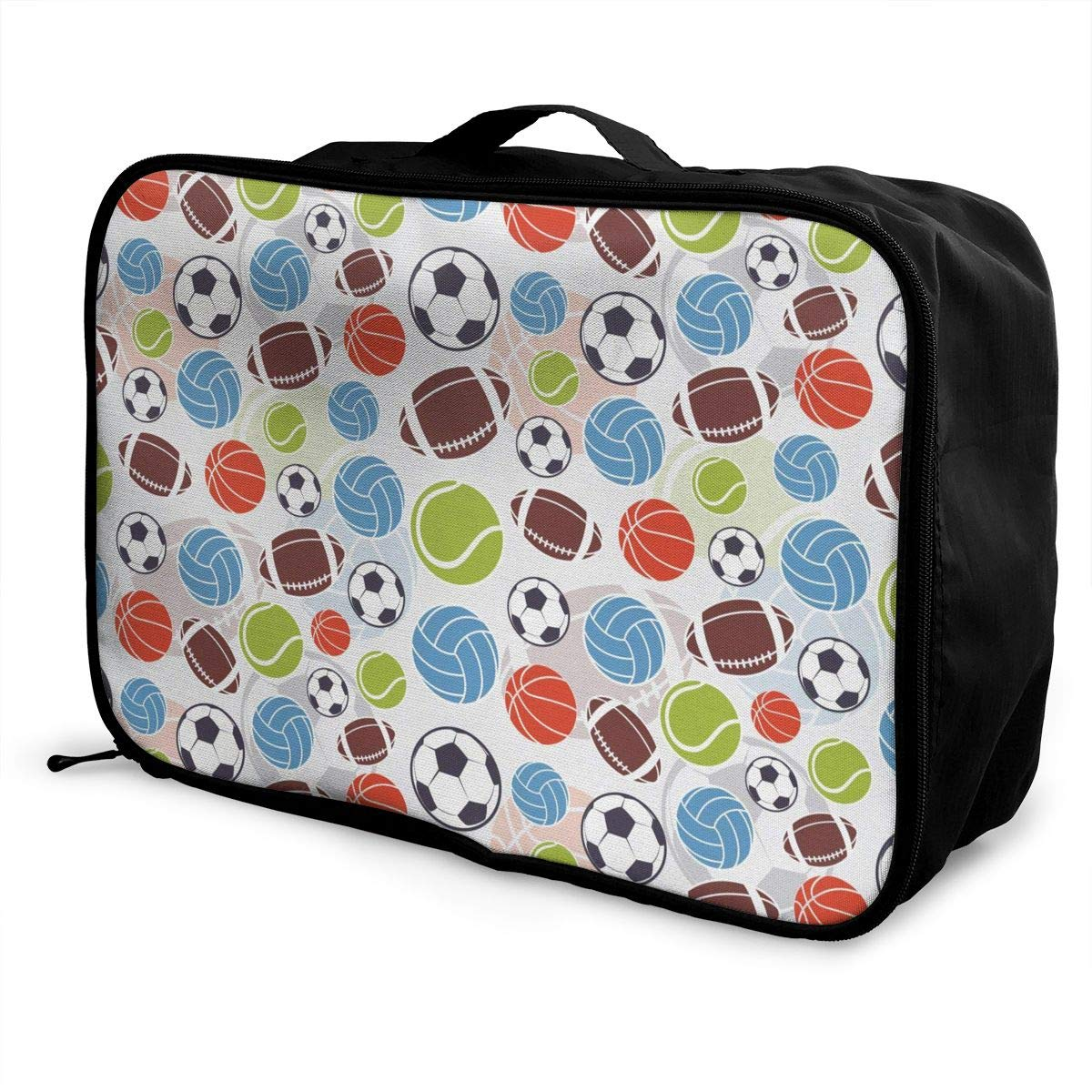 ADGAI Sports Balls Pattern Abstract Basketball Football Canvas Travel Weekender Bag,Fashion Custom Lightweight Large Capacity Portable Luggage Bag,Suitcase Trolley Bag