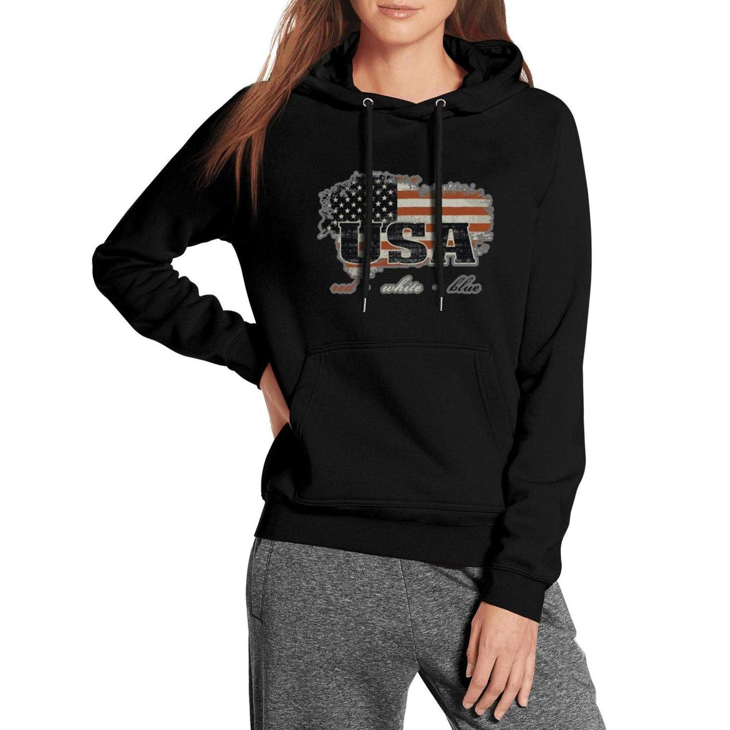 Grunge Flag of USA American Volleyball Sweatshirt Long Sleeve Wool Warm for Mens and Womens Cool Tees Hoodie