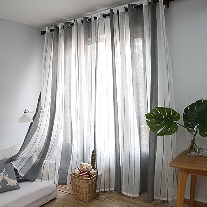 PUERI Rideaux Voilage à Oeillets Voilage Blanc et Gris Voile Fenêtre  Transparent Voilage en Lin Salon Chambre Style rayé Gaze de fenêtre Rideau  ...