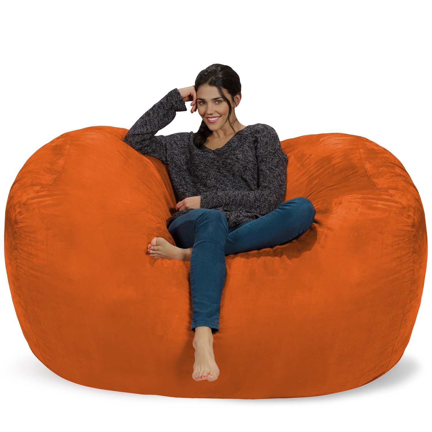 Chill Sack Bean Bag Chair: Huge 6' Memory Foam Furniture Bag and Large Lounger - Big Sofa with Soft Micro Fiber Cover - Orange