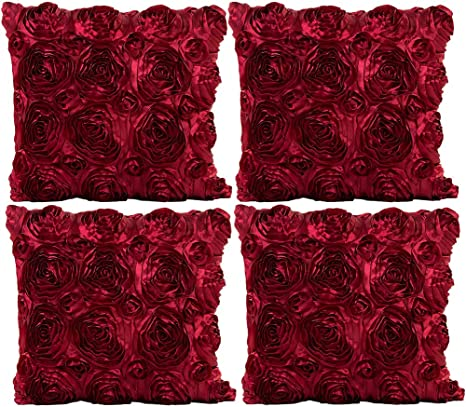 Jotom Throw Pillow Covers For Sofa Bed Cushion 3d Solid Color Silks Satins Rose Flower Romantic Love Cushion Covers For Wedding Party Home Decor Set Of 4 16 X 16 Rose Wine Red Home Kitchen