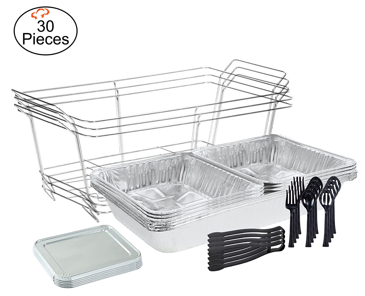 Tiger Chef 30-Piece Catering Set Serving Dishes for Parties Includes Chafer Pans Set and Disposable Serving Utensils, Spoons and Tongs for all parties, events including Birthday, Holiday, Weddings,