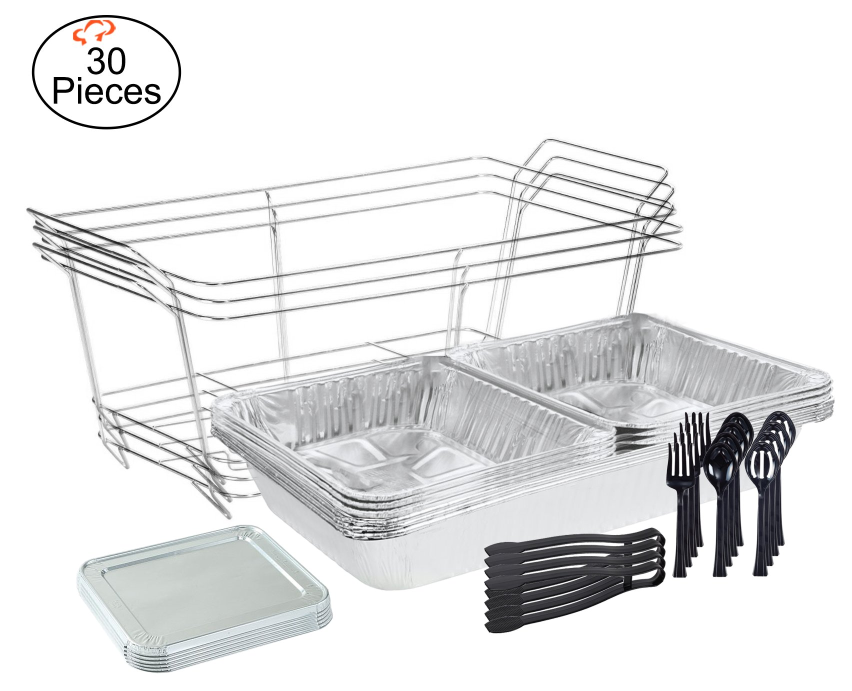 Tiger Chef 30-Piece Catering Set Serving Dishes for Parties Includes Chafer Pans Set and Disposable Serving Utensils, Spoons and Tongs for all parties, events including Birthday, Holiday, Weddings, by Tiger Chef