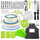 Cake Decorating Kit, lesgos 127 PCS Baking Supplies With 11 Inch Cake Turntable, Icing Tips, Cake Spatulas, Pastry Tools…