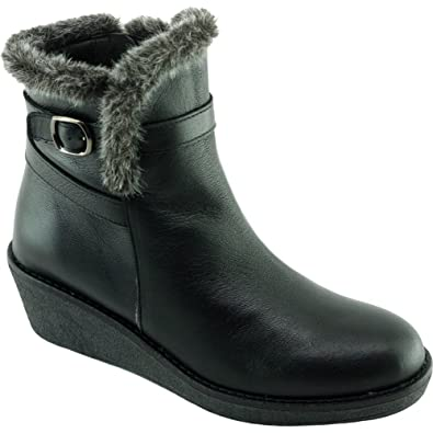 Angelina® HIRATUS Bottines Semelle Compensée Façon Crêpe Moumoute Chaussure  Femme Boots Chaude Marque Cuir Ciré 329830caba59