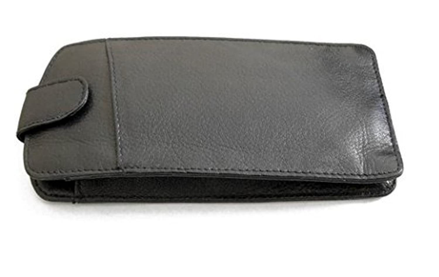 Leather Glasses Case by 'Vintage 51' - Black - Tab Top & Front Pocket 87b
