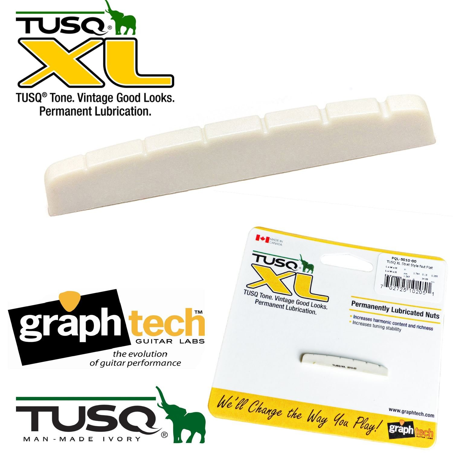 GraphTech PQ5042 TUSQ Nut Flat Bottom for Strat//Tele etc..