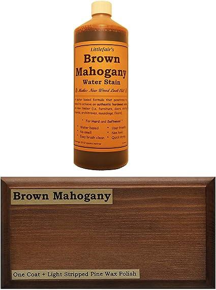 Tinte para madera a base de agua de Littlefairs, respetuoso con el medio ambiente, Caoba Marrón, 500 ml