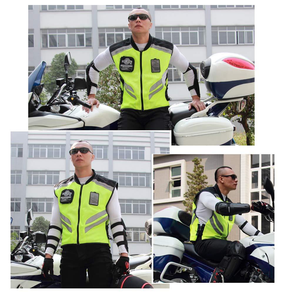 XXXL Festnight Deportes Motocicleta Chaleco Reflectante Visibilidad Fluorescente Montar Chaleco de Seguridad Chaqueta sin Mangas Moto Gear
